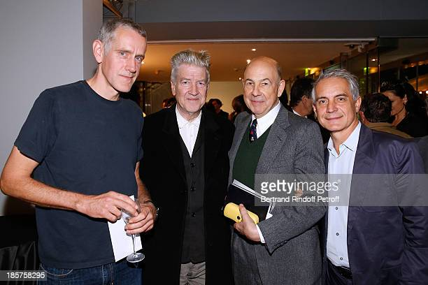 Contemporary artist Ron Mueck David Lynch owner of a gallery Anthony D'Orffay and General Manager of Fondation Cartier Herve Chandes attend the 'Ron...