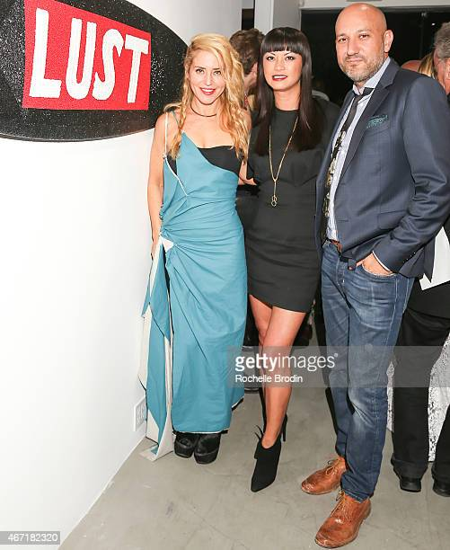 Contemporary artist Stephanie Hirsch, art buyer Mary Ta and gallery owner Steph Sebbag attend the opening night of the Stephanie Hirsch...