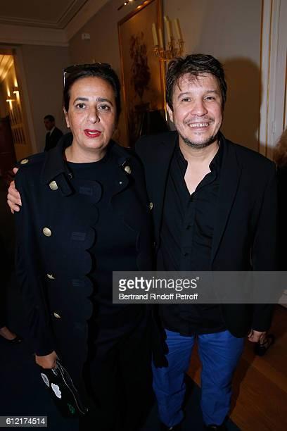 Contemporary Artists India Mahdavi and Adel Abdessemed attend Alber Elbaz receives the Insigna of 'Officier de la Legion d'Honneur' at Ministere de...