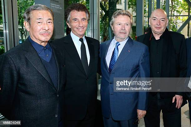 Contemporary artists Issey Miyake, Jack Lang, founder of 'Fondation Cartier' Alain Dominique Perrin and architect Jean Nouvel attend the 'Fondation...
