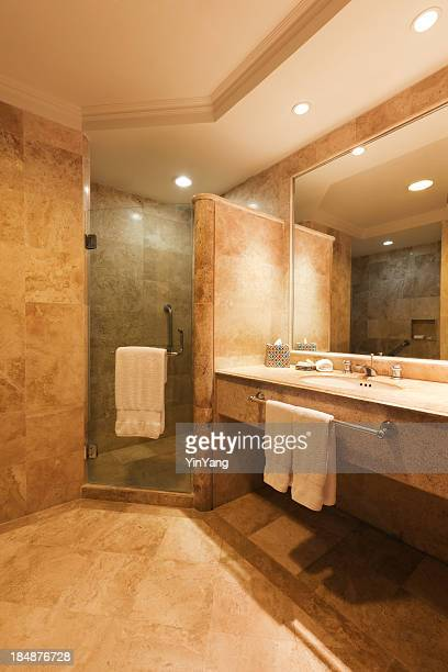 Contemporary Bathroom with Shower Stall and Vanity Sink