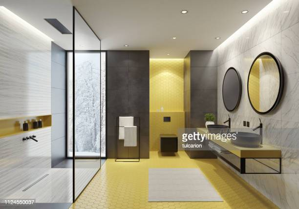 contemporary bathroom with yellow honeycomb tiles - bathroom stock pictures, royalty-free photos & images