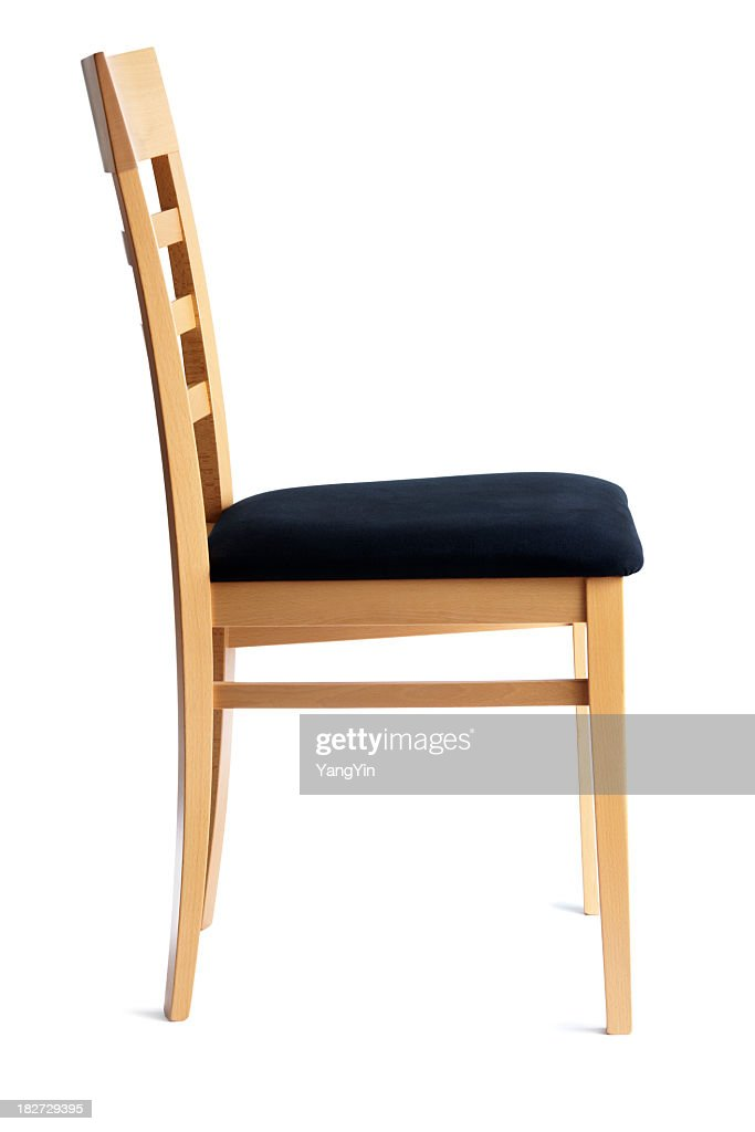 Contemporary Beech Cushioned Chair Side View Isolated On ...