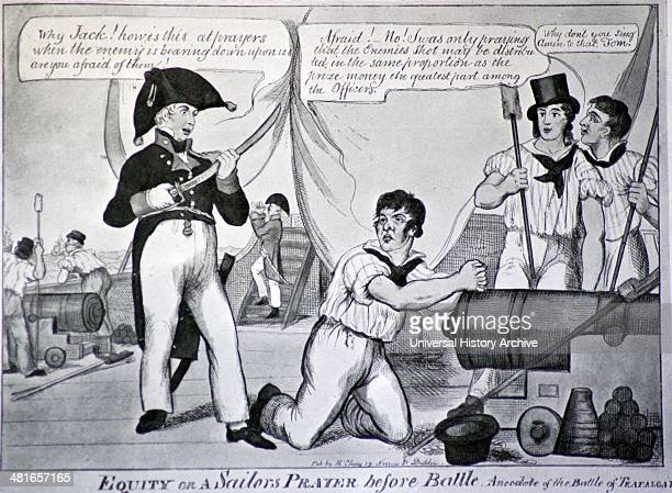 Contemporary caricature - The Battle of Trafalgar, 21st October, 1805 was a naval engagement fought by the British Royal Navy against the combined...