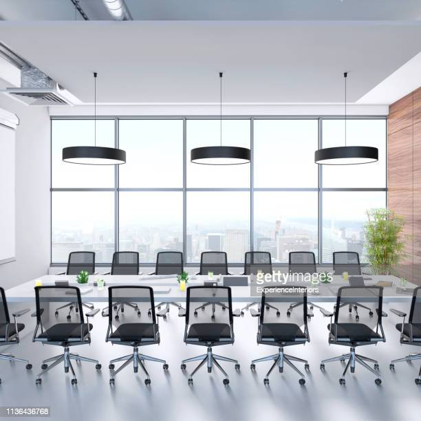 contemporary conference room interior - pendant light stock pictures, royalty-free photos & images