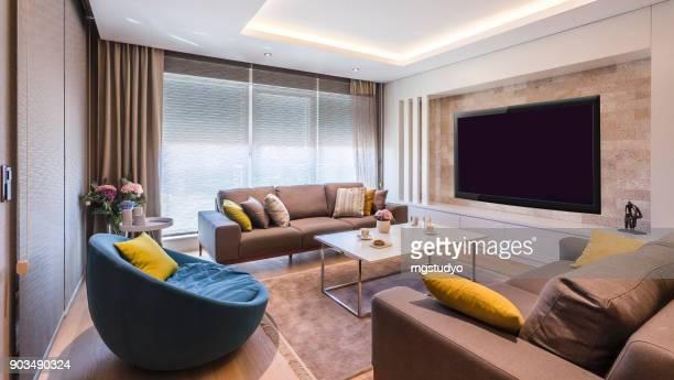 contemporâneo de luxo elegante sala de estar - enfeite - fotografias e filmes do acervo