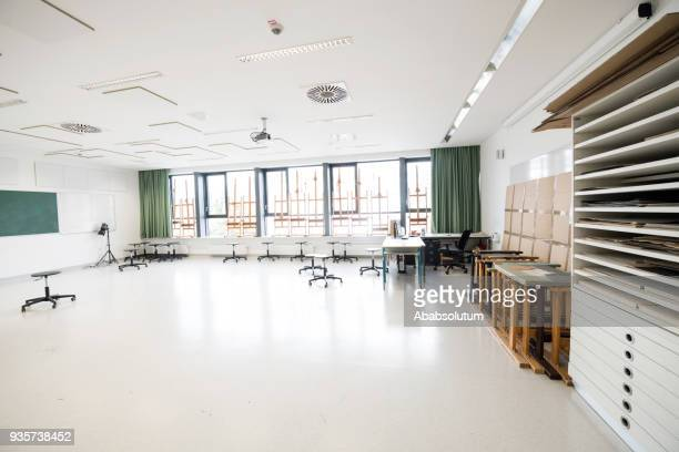 contemporary empty school art classroom, europe - high school building stock pictures, royalty-free photos & images