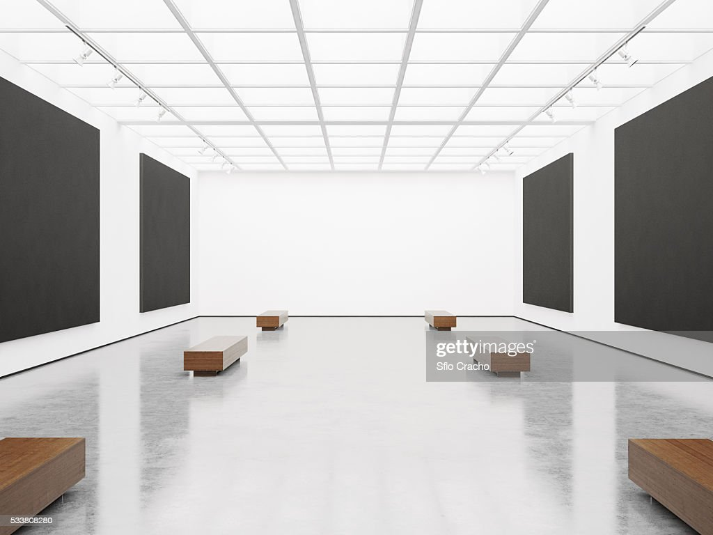 Contemporary gallery interior with black canvas on wall : Foto stock