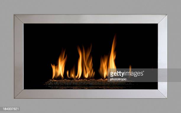 contemporary gas fire - fireplace stock pictures, royalty-free photos & images