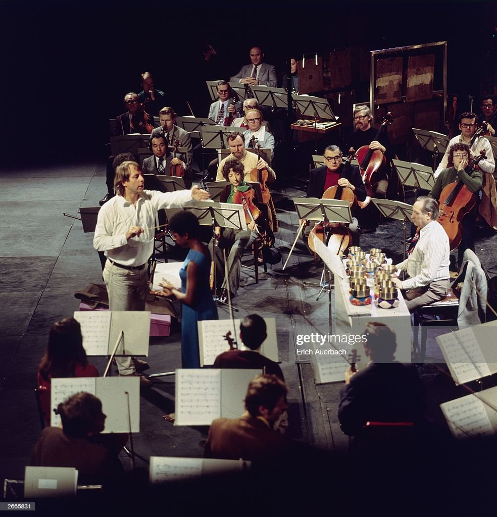 Contemporary German composer Karlheinz Stockhausen plays 'Inori' with Elisabeth Clarke and the Sudwestfunk Orchestra.