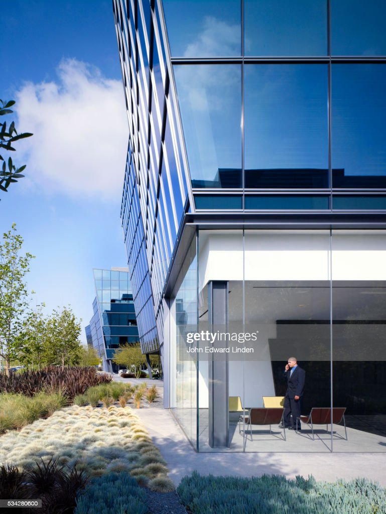 contemporary glass office. Contemporary Glass Office Tower With Landscaping : Stock Photo N