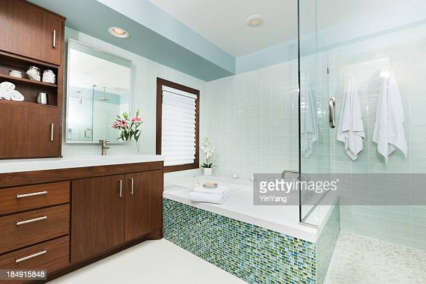 contemporary home bathroom with shower stall, tub and vanity - vanity stock pictures, royalty-free photos & images