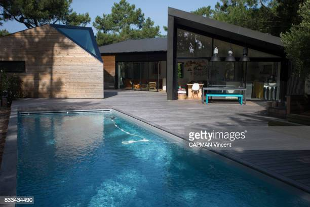Contemporary house with pool of Bernard Martin on july 07 2017 in Cap Ferret France