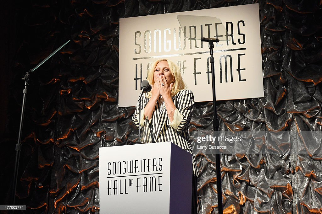 Contemporary Icon Award Recipient Lady Gaga speaks onstage at the Songwriters Hall Of Fame 46th Annual Induction And Awards at Marriott Marquis Hotel on June 18, 2015 in New York City.
