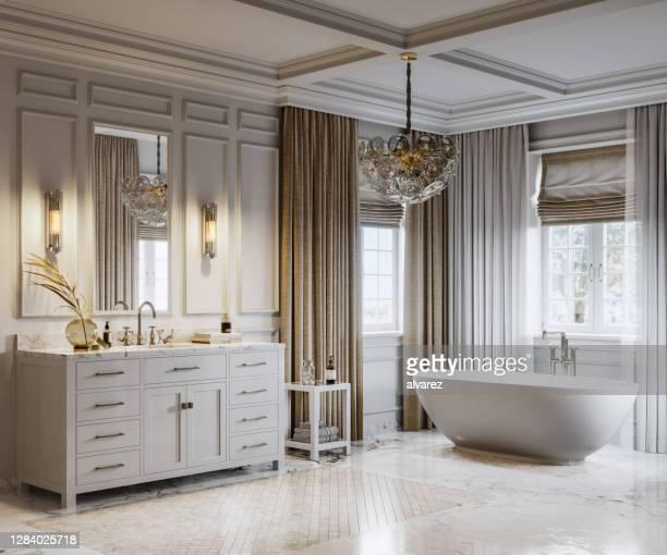 豪華なバスルームの現代的なインテリア - 家庭の備品 ストックフォトと画像