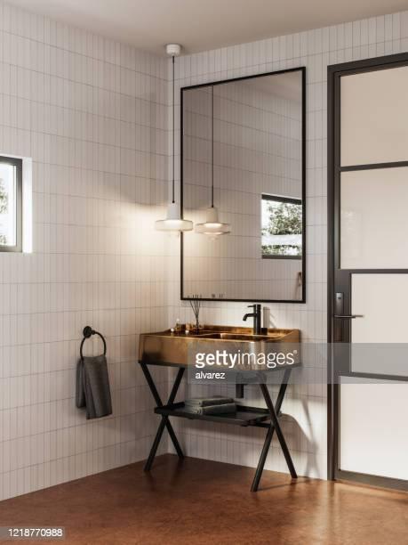 contemporary interior of a small bathroom - bacia de lavagem imagens e fotografias de stock