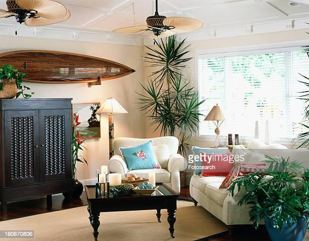 Contemporary living room in coastal home