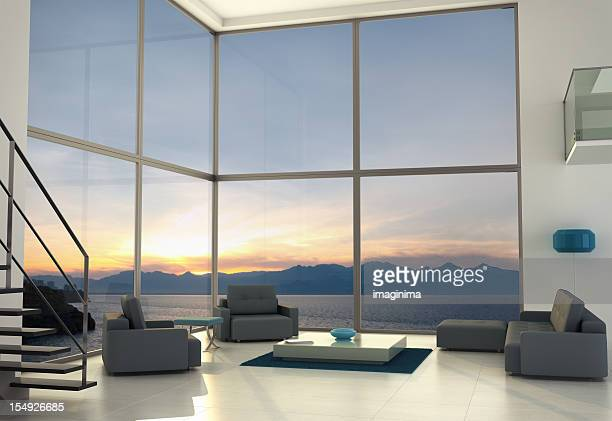 contemporary loft interior design - penthouse stock pictures, royalty-free photos & images