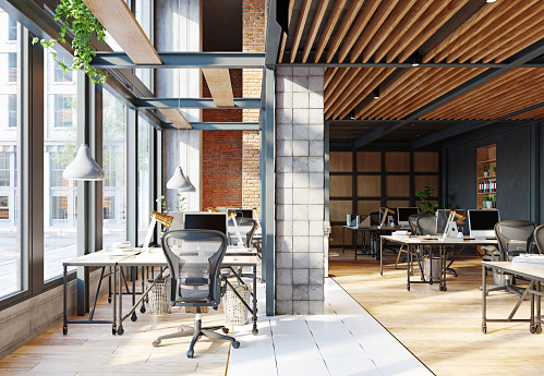 contemporary loft office 1208763228