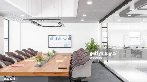 contemporary meeting room - wide angle stock pictures, royalty-free photos & images