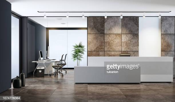 contemporary office reception area with copy space - hotel lobby stock pictures, royalty-free photos & images