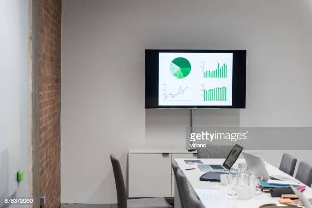 contemporary office table with equipments and chairs - projection screen stock pictures, royalty-free photos & images