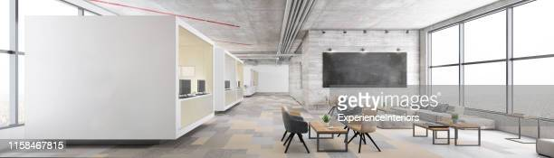 contemporary open plan office interior - wide stock pictures, royalty-free photos & images