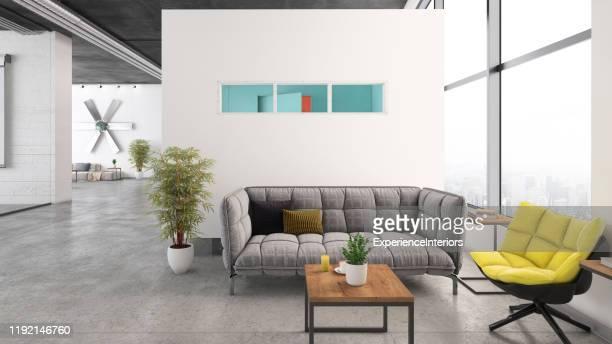 ロビー付きの現代的なオープンプランオフィスインテリア - ロビー ストックフォトと画像
