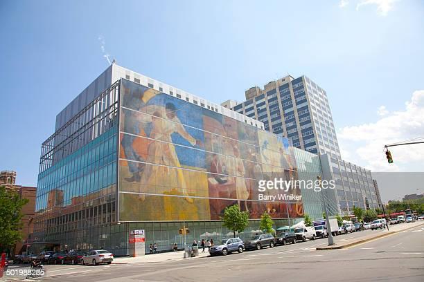 Contemporary painted glass hospital facade