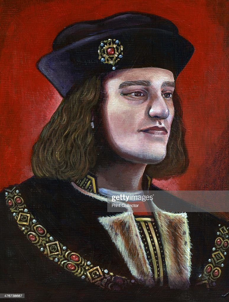 Contemporary painting of King Richard III (1452-1485), 2013. Based on the facial reconstruction, which was created after the discovery of the King's body at the site of the former Greyfriars Church in Leicester in 2012. The painting is in the style of the popular early 16th century painting of the King.