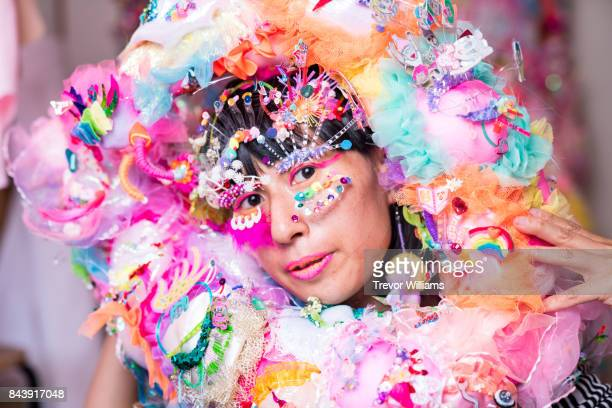 a contemporary performance artist wears textile art pieces - cosplay stock pictures, royalty-free photos & images