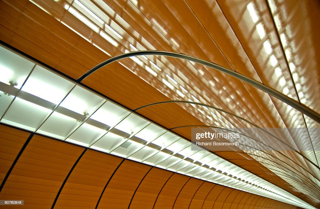 A contemporary photograph of the ceiling of one of the underground platforms at the Marienplatz Metro Station in Munich, Germany. The Marienplatz is a large square at the heart of historic Munich.
