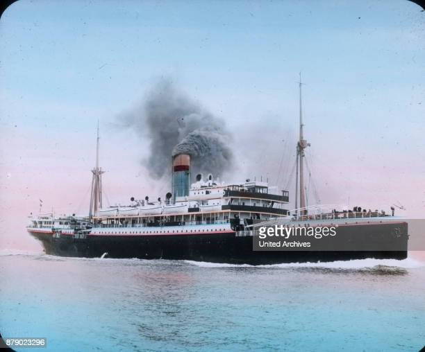 A contemporary steamship the RMS Titanic with only a chimney and two loading cranes