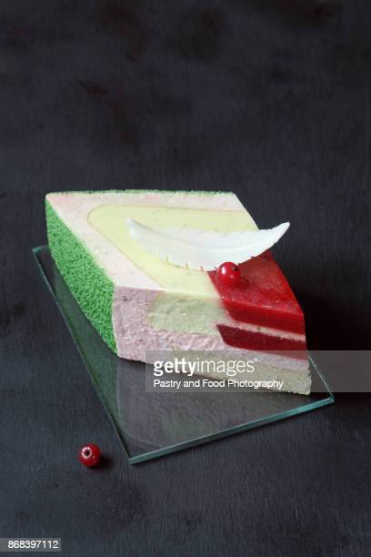 Contemporary Strawberry Basil Lime 'Star' Mousse Cake