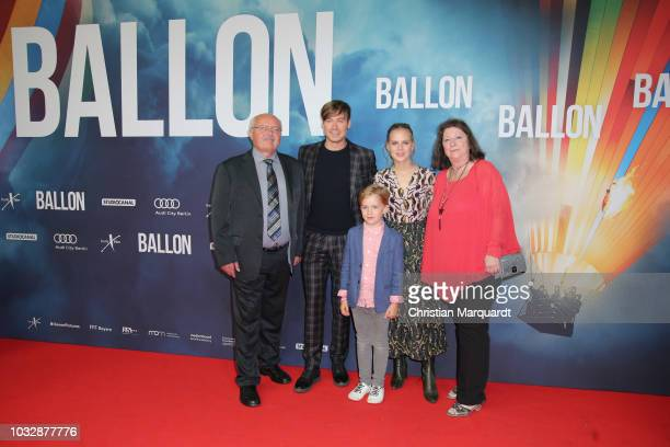 Contemporary witness Guenter Wenzel and Petra Wenzel with actors David Kross and Alicia von Rittberg attend the 'Ballon' premiere at Zoo Palast on...