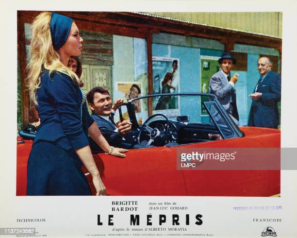 Contempt lobbycard from left Brigitte Bardot Jack Palance Michel Piccoli Fritz Lang 1963