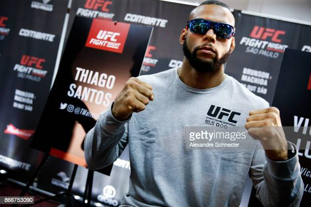 Contender Thiago Santos pose for a photo during the Ultimate Media Day at the Matsubara Hotel for the UFC Fight Night Sao Paulo on October 26 2017 in...