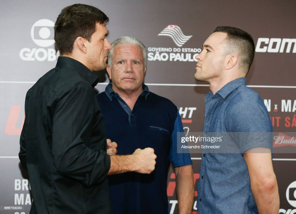 Contenders Demian Maia (L) and Colby Covington pose for photo during the Ultimate Media Day at the Matsubara Hotel for the UFC Fight Night Sao Paulo on October 26, 2017 in Sao Paulo, Brazil.