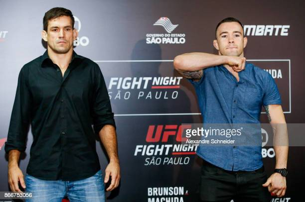 Contenders Demian Maia and Colby Covington pose for photo during the Ultimate Media Day at the Matsubara Hotel for the UFC Fight Night Sao Paulo on...