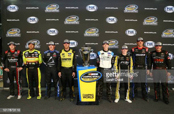 Contenders for the championship pose for a photo after the NASCAR Camping World Truck Series UHOH 200 at Bristol Motor Speedway on August 16 2018 in...