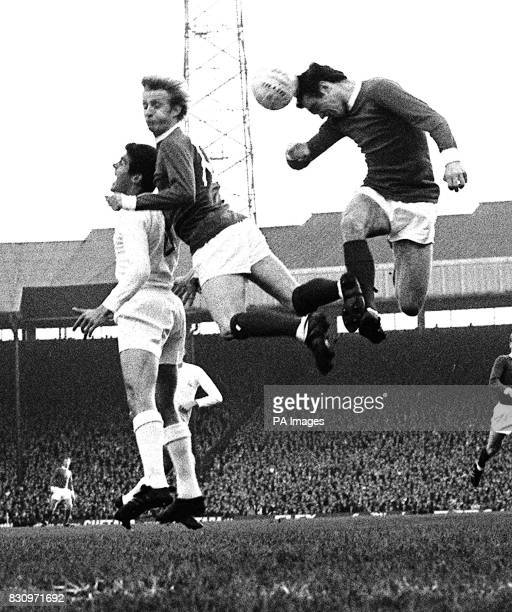 Contenders for the European Cup Real Madrid and Manchester United in the shape of one Real player and United's Denis Law and Aston go high in the air...