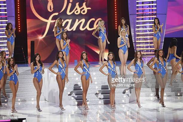 Contenders parade during the 63rd edition of the Miss France beauty contest on December 5 2009 in Nice southern France Miss Normandie Malika Ménard...