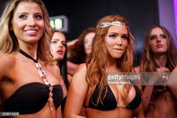 Contenders watch 'Miss USSR UK' beauty pageant's final show from backstage at Troxy Theatre in London England on April 23 2016 Miss USSR UK is a...