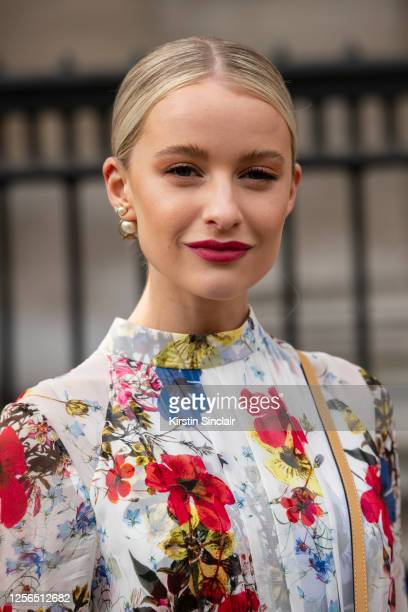 Content creator Victoria Magrath wears an Erdem dress during London Fashion Week February 2020 on February 17, 2020 in London, England.