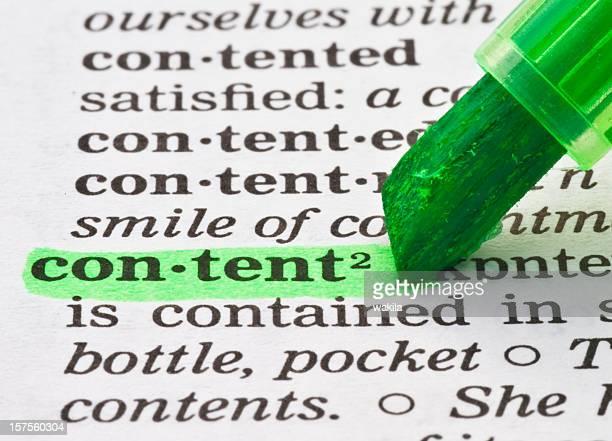Inhalte im Wörterbuch-definition-Tags