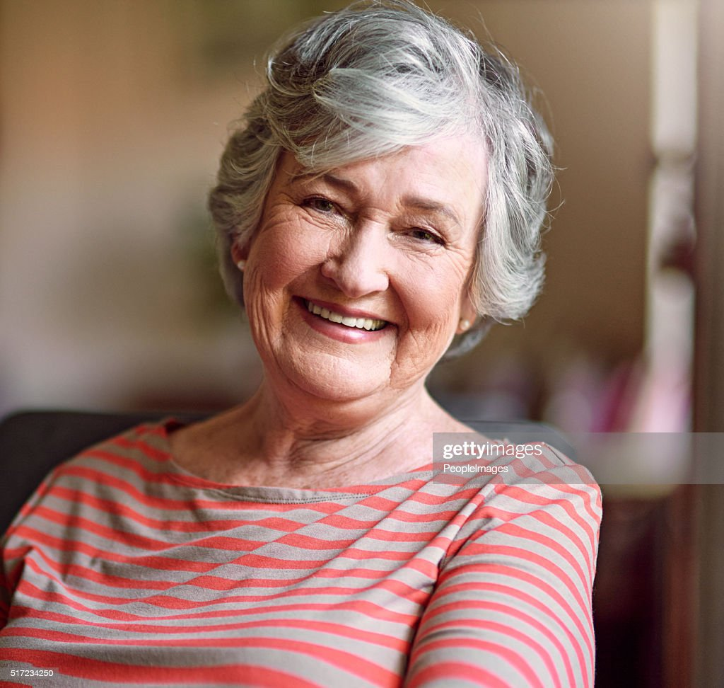 Content in her golden years : Stock Photo