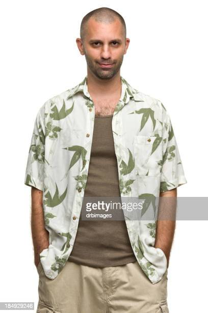 content man in hawaiian shirt - short sleeved stock photos and pictures