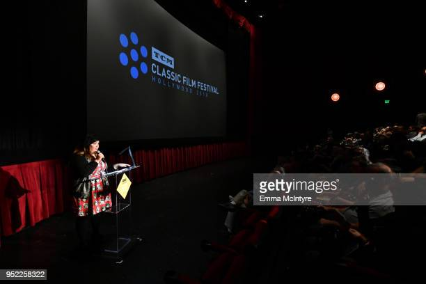 Content Manager for Turner Classic Movies and FilmStruck Millie De Chirico speaks onstage at the screening of 'Creature From the Black Lagoon 3D'...