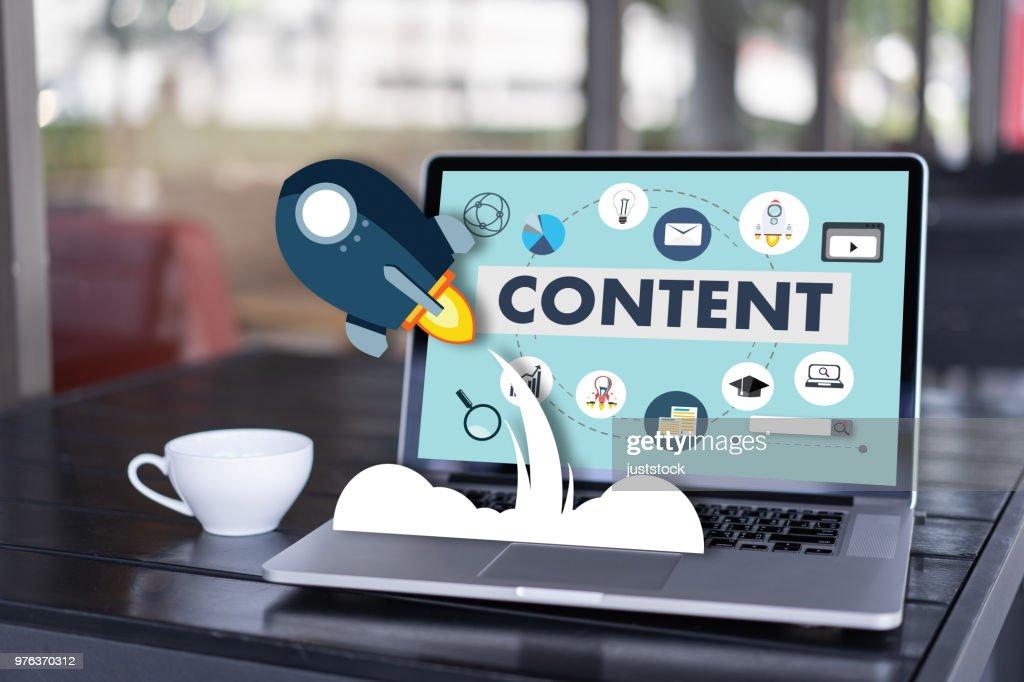 content marketing Content Data Blogging Media Publication Information Vision Concept : Stock Photo