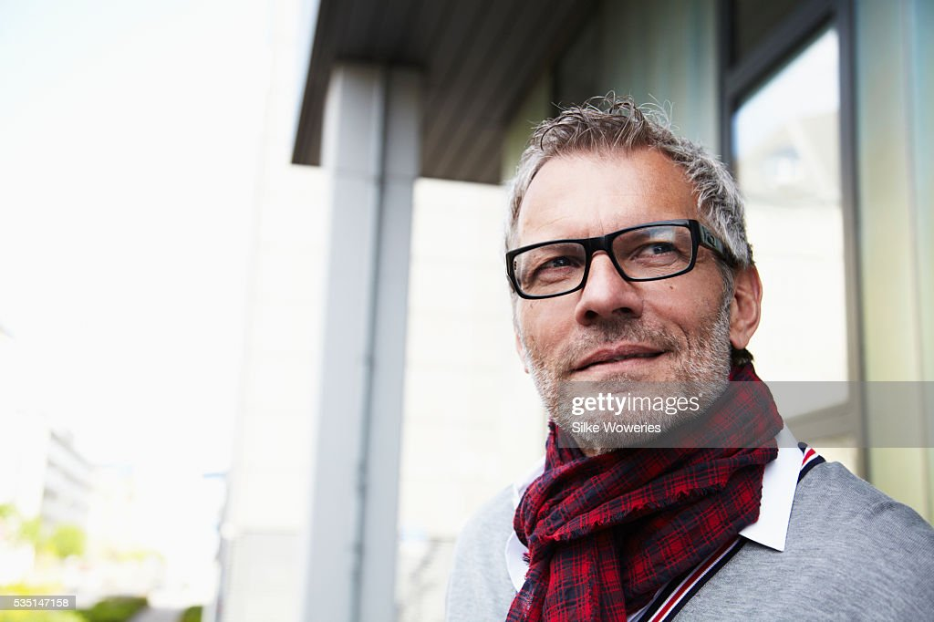 Content middle-aged man : Stock Photo